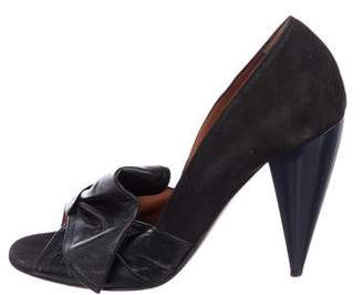 Lanvin Peep-Toe Bow Pumps