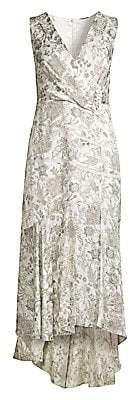 Elie Tahari Women's Brittney Floral Lace Eyelet Midi Wrap Dress