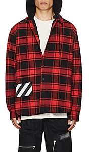 Off-White Men's Checked Cotton-Blend Hooded Shirt - Red