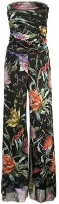 Fuzzi floral print strapless jumpsuit