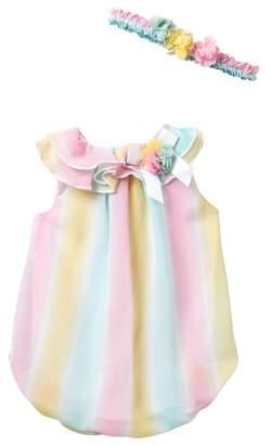Little Me Ombre Bubble Bodysuit & Headband Set (Baby Girls)