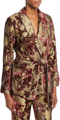 Frs By Francesca Ruffini Metallic Devore Foliage Applique Robe Top w/ Tie Waist
