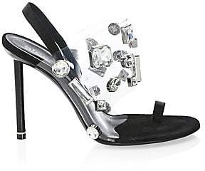 Alexander Wang Women's Kaia Bejeweled Clear-Strap Suede High-Heel Sandals