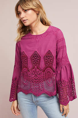 Chloe Oliver Bell-Sleeve Lace Pullover $118 thestylecure.com