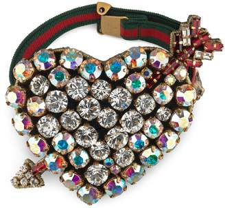 Gucci Web bracelet with crystal heart