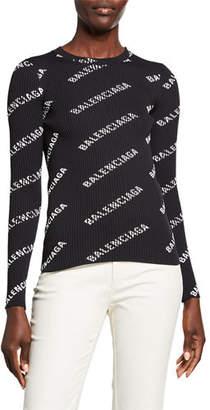 Balenciaga Long-Sleeve Techno Logo-Print Ribbed Sweater