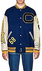 Calvin Klein Men's Oversized Wool Varsity Jacket - Blue