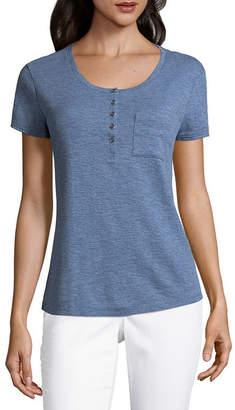 Liz Claiborne Short Sleeve Henley Neck T-Shirt