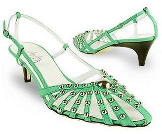 Amaltea Mint Studded Strappy Leather Pump Shoes