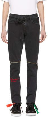 Off-White Black Slim Zip Jeans