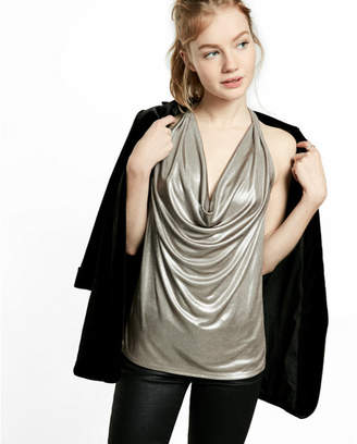 Express metallic cowl neck halter tank