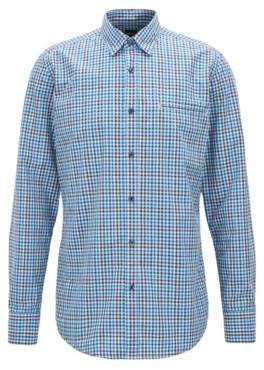 BOSS Hugo Regular-fit shirt in cotton Vichy check S Blue