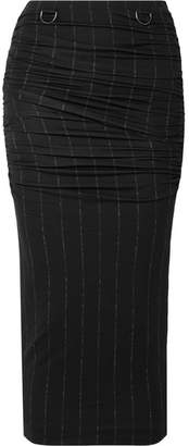 Max Mara Dalida Ruched Pintriped Stretch-jersey Midi Skirt - Black