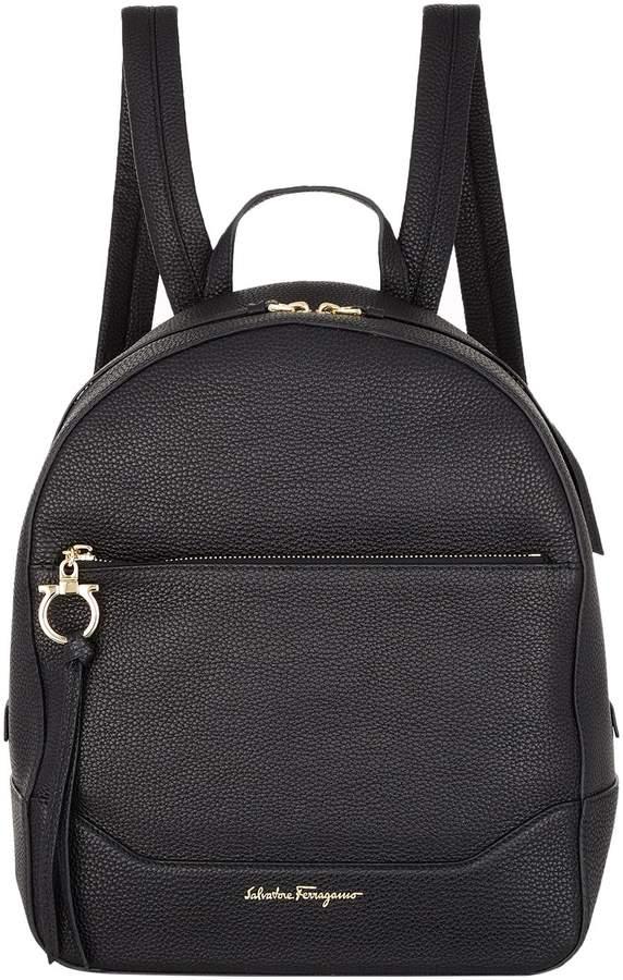 Salvatore Ferragamo Medium Samy Leather Backpack, Black