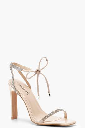 boohoo Lily Diamante Skinny Strap Barely There Heels