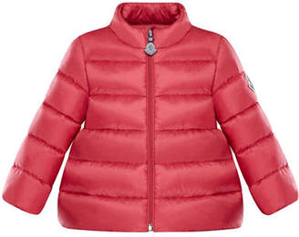 Moncler Joelle Quilted Down Coat, Dark Pink, Size 12M-3Y