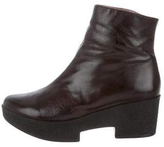 Robert Clergerie Leather Round-Toe Ankle Boots