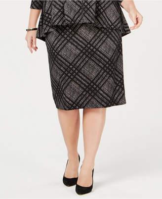 Alfani Plus Size Jacquard Straight Skirt, Created for Macy's