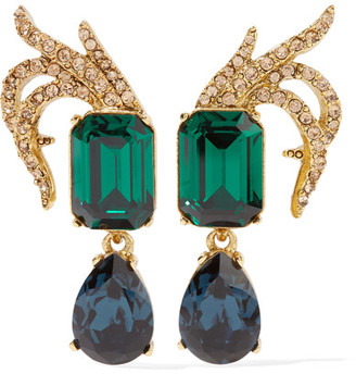 Oscar de la Renta - Gold-plated Swarovski Crystal Clip Earrings - one size $375 thestylecure.com