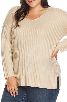 Vince Camuto Metallic Stripe Ribbed V-Neck Sweater