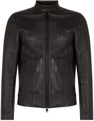 Emporio Armani Woven Leather Jacket
