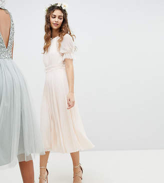 TFNC Pleated Midi Bridesmaid Dress With Spot Mesh Frill Detail