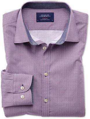 Charles Tyrwhitt Classic Fit Magenta and Blue Print Cotton Casual Shirt Single Cuff Size Large