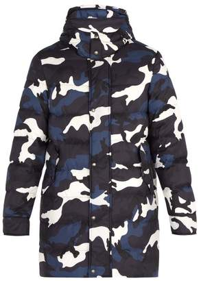 Valentino Camouflage Print Quilted Down Jacket - Mens - Blue