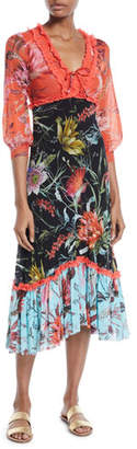 Fuzzi Floral Patchwork V-Neck Ruffle Dress