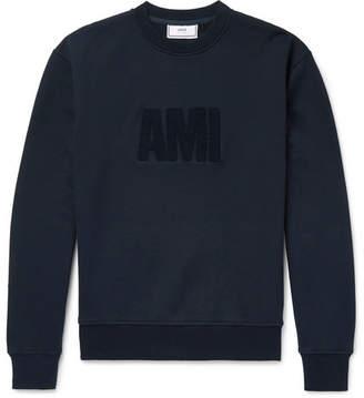 Ami Logo-Flocked Fleece-Back Cotton-Jersey Sweatshirt