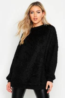 boohoo Oversized Fluffy Knit Boyfriend Sweater