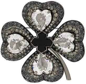 Lanvin embellished clover brooch
