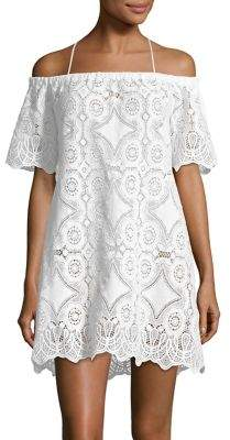 Lisa Maree Speakeasy Off-the-Shoulder Lace Cover-Up Dress