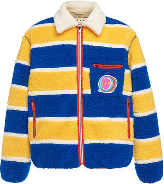 Marni Striped Collared Jacket With Patchwork