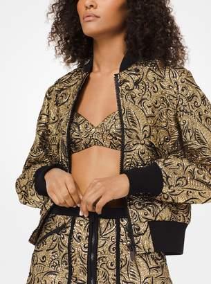 Michael Kors Floral Brocade Bomber Jacket