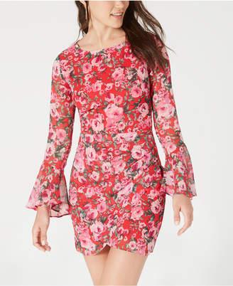 B. Darlin Juniors' Open-Back Floral-Print Dress