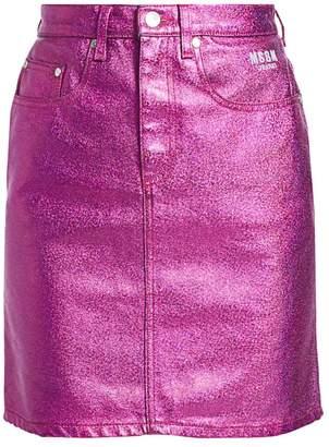 MSGM Coated Metallic Denim Mini Skirt