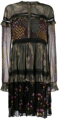 Twin-Set ruffled print-mix dress