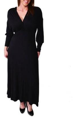 24/7 Comfort Apparel Women's Plus Long Sleeve Empire Maxi Dress