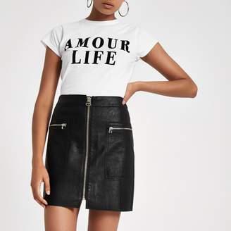 River Island Womens Black zip pocket biker mini skirt