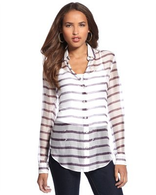 Theory Striped Silk Button-Down Blouse