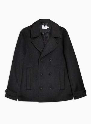Topman Mens Grey Gray Pea Coat With Wool Jacket