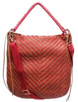 "Christopher Kon PL01564""Red & Tobacco Woven Leather Satchel/Crossbody"