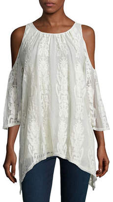 XCVI Risette Cold-Shoulder Bouquet-Embroidered Top, Plus Size