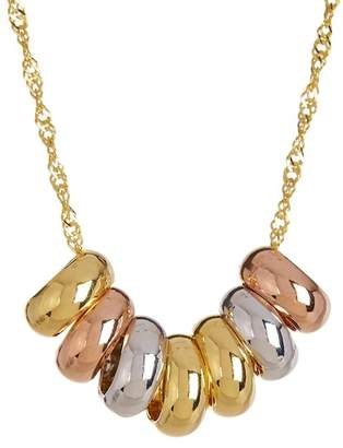 "KARAT RUSH 10K Tricolor Gold Lucky 7-Ring 18"" Necklace"