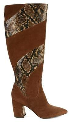 Sam Edelman Mulson Snake-Print Leather Tall Boots