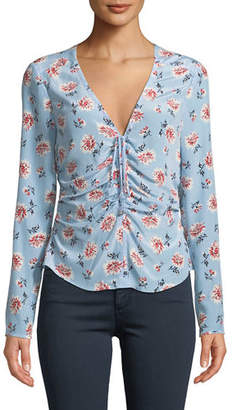 Veronica Beard Maisle V-Neck Ruched-Front Long-Sleeve Silk Blouse