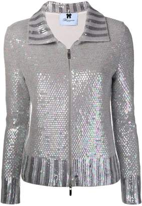 Blumarine sequin embellished zip cardigan