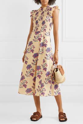 Sea Odette Shirred Floral-print Cotton Midi Dress - Cream