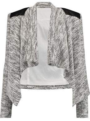 Alice + Olivia Owen Draped Leather-Paneled Bouclé Jacket